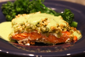 Pine Nut & Basil Encrusted Salmon